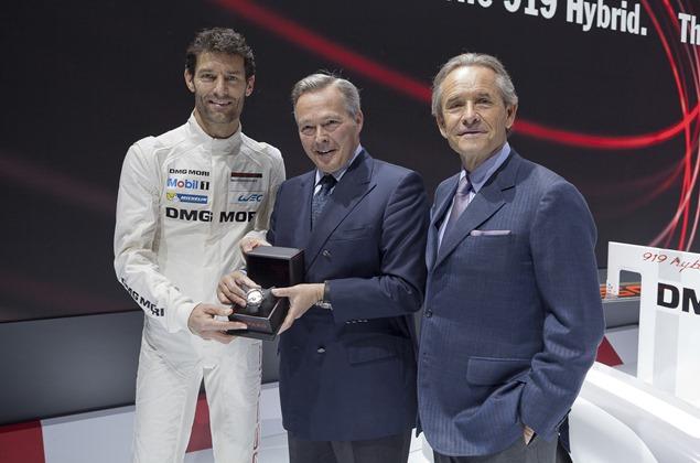 Karl Friedrich Scheufele with Jacky Ickx and pilot Mark Webber