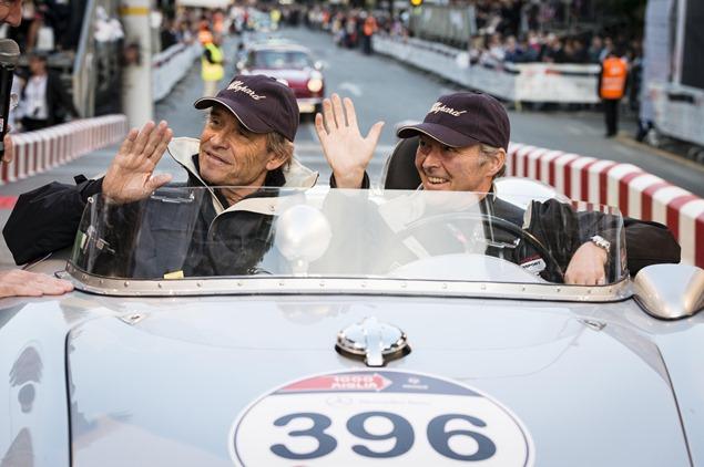 Jacky Ickx, Karl-Friedrich Scheufele, Porsche 550 Spyder SR Mille Miglia 2014, Brescia, 15.05.2014 (c) Alexandra Pauli for Chopard