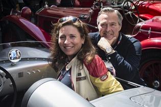 Christine and Karl-Friedrich Scheufele, Porsche 550 Spyder SR Mille Miglia 2014, Brescia, 15.05.2014 (c) Alexandra Pauli for Chopard