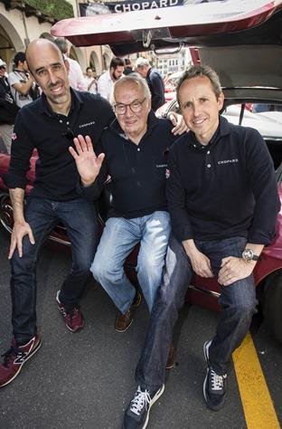 Jordi Pascual, Karl Scheufele, Albert Carreras, Mercedes-Benz 300 SL W 198 Mille Miglia 2014, Brescia, 15.05.2014 (c) Alexandra Pauli for Chopard