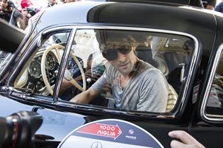 Adrien Brody, Esmeralda Brajovic, Mercedes-Benz  300 SL W 198 Mille Miglia 2014, Brescia, 15.05.2014 (c) Alexandra Pauli for Chopard