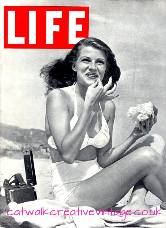 Rita Hayworth Life Magazine white bikini